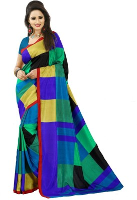 Geordie Checkered, Geometric Print Fashion Art Silk Sari