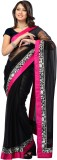 3NH Self Design Bollywood Net Saree (Bla...