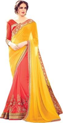 Lajo Solid Fashion Georgette Sari