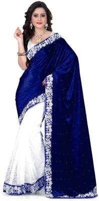 Jhilmil Solid Bollywood Velvet Saree(Blue)
