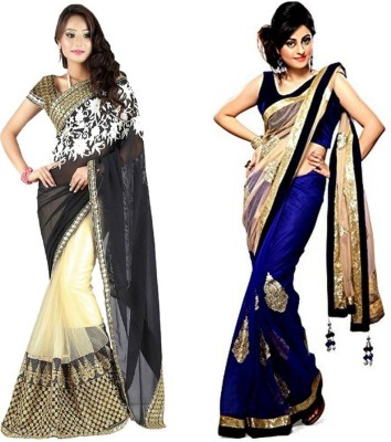 Red Carpet Self Design, Plain, Embriodered Bollywood Net, Georgette, Net Sari