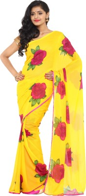 Aryahi Floral Print Daily Wear Chiffon Saree(Yellow) at flipkart