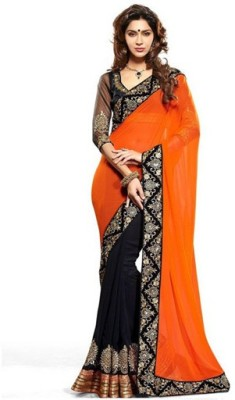 sanginienterprise Embriodered Bollywood Georgette Sari