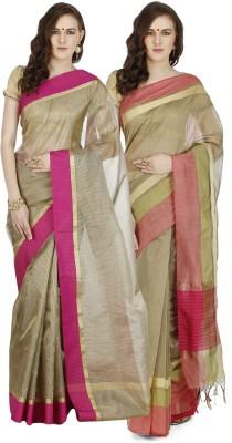 BANARASI SILK WORKS Embroidered Banarasi Cotton Saree(Pack of 2, Multicolor) at flipkart