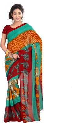 Suali Printed Fashion Synthetic Georgette Saree(Multicolor) at flipkart