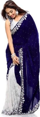 shahlon Embriodered Bollywood Velvet Sari