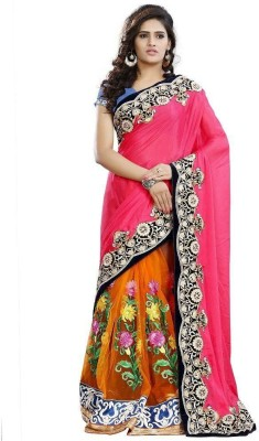 MANJULA FEB Embriodered Bollywood Georgette, Net Sari