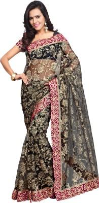 Aruna Sarees Self Design, Embroidered Bollywood Net Sari(Black)