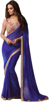 M.S.Retail Embroidered Bollywood Georgette Saree(Blue) at flipkart