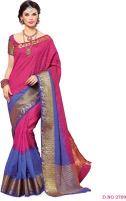 FASHIONCRETE Self Design Kanjivaram Tussar Silk Sari