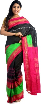 BlackBeauty Woven Pochampally Handloom Pure Silk Saree(Black, Pink, Green) at flipkart