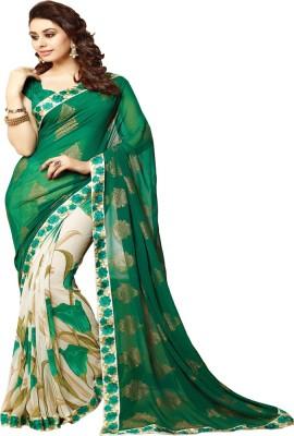 Festive Floral Print Bollywood Handloom Georgette Sari