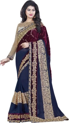 Mahotsav Embroidered Fashion Georgette Saree(Blue) at flipkart