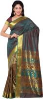 Varkala Silk Sarees Woven Paithani Handloom Art Silk Sari(Dark Green, Red)