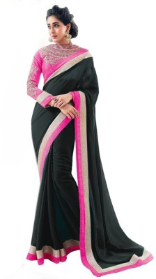 Aanaya Fashions Solid Bollywood Georgette Saree(Black) at flipkart