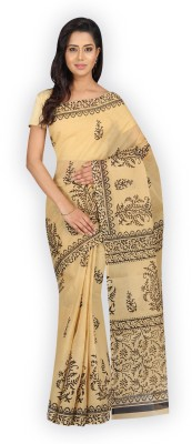 Pavechas Printed Cotton Saree(Beige)