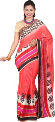 vinaa sarees Printed Fashion Synthetic Crepe Sari