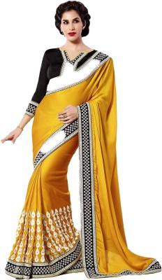 ARsalesIND Embriodered Fashion Satin, Georgette, Chiffon Sari