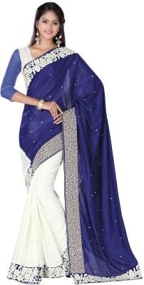 MANJULA FEB Embriodered Fashion Jute, Chiffon Sari