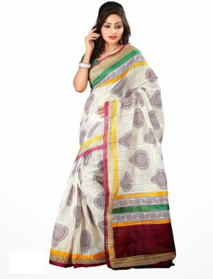 Increadibleindianwear Printed Bhagalpuri Handloom Cotton Linen Blend Sari