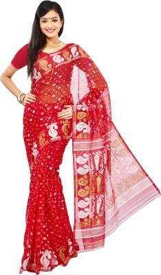 Crochetin Woven Jamdani Handloom Silk Cotton Blend Sari