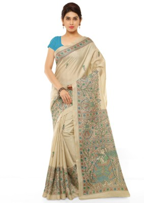 Kvsfab Printed, Paisley Fashion Cotton, Silk Sari(Beige, Multicolor)