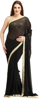 Bhuwal Fashion Self Design Fashion Chiffon Sari(Black)