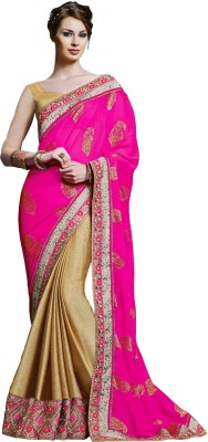 Jinaam Dress Embriodered Fashion Chiffon, Art Silk Sari