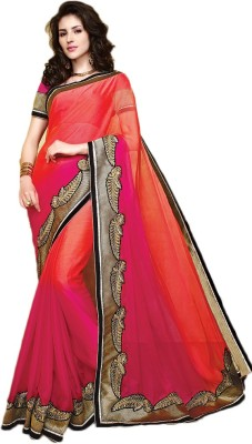 Linenplus Embriodered Bollywood Chiffon, Raw Silk Sari