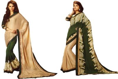 Fency fession Plain, Printed Fashion Synthetic Georgette Sari