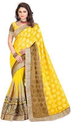 nimi fashion Embriodered, Self Design, Plain, Solid Fashion Handloom Jacquard, Synthetic Georgette Sari