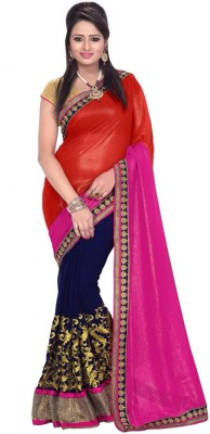 Spangel Fashion Solid Bollywood Georgette Sari