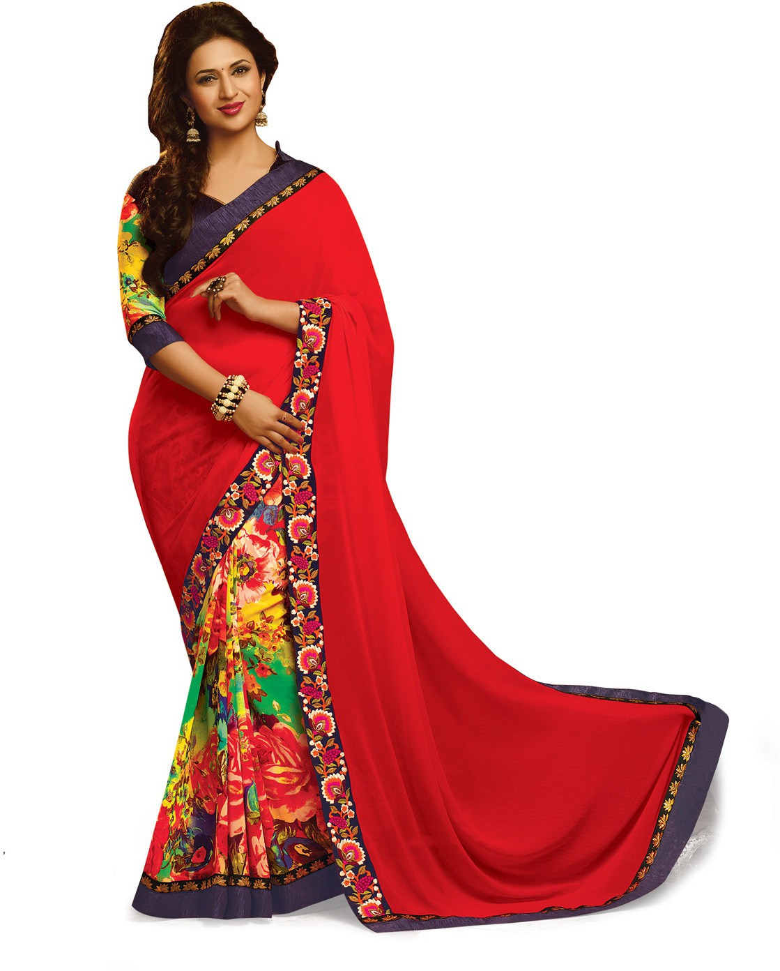 Indianbeauty Self Design, Printed, Embroidered Bollywood Pure Georgette Saree(Red, Multicolor)
