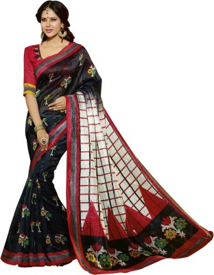 Bhavi Printed Maheshwari Art Silk Saree(Blue) at flipkart