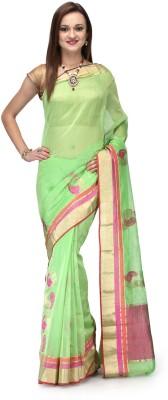 Aadhuni Self Design Banarasi Chanderi Saree(Green) at flipkart