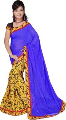 Siddharth Fab Floral Print, Solid Fashion Georgette, Synthetic Sari