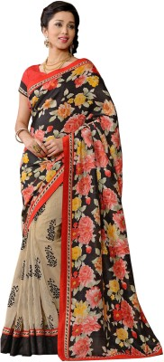Vonage Floral Print Bollywood Silk Sari