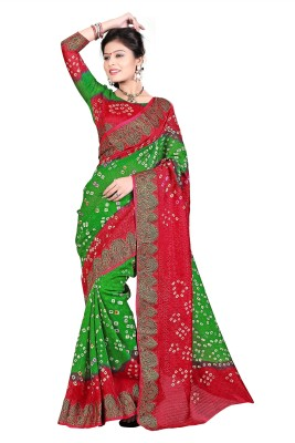Wedding Villa Self Design Bandhani Art Silk Sari