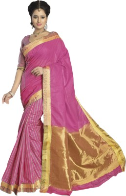 M.S.Retail Solid Fashion Cotton Sari(Pink) at flipkart