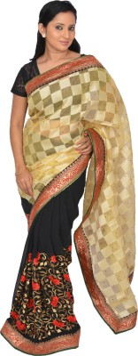 Tapovan Embriodered Bollywood Handloom Chiffon, Jute Sari