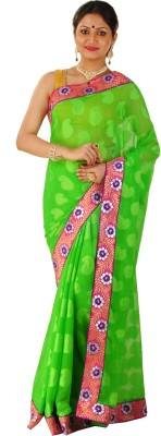 ZOBHITA Embellished, Embriodered, Floral Print, Self Design, Woven Bollywood Chiffon, Synthetic Sari