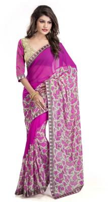 Om Shree Vallabh Printed, Plain Bollywood Georgette Sari
