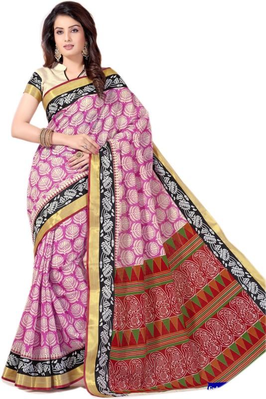 Aarti Apparels Printed Gadwal Cotton Saree(Pink)