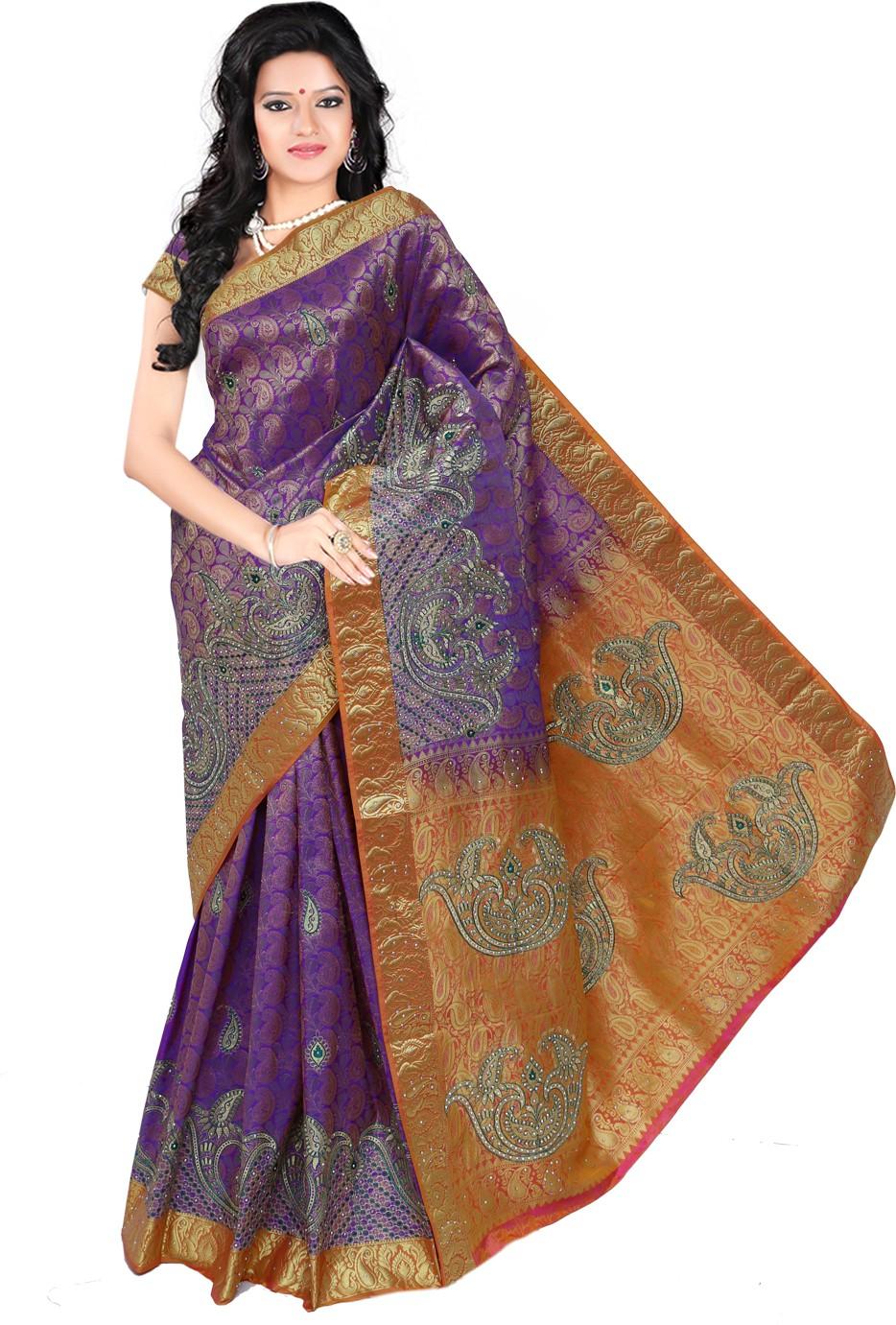 Roopkala Silks Embellished Dharmavaram Brocade Saree(Purple)