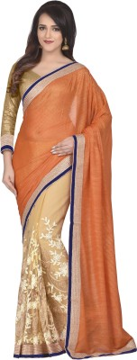 Oomph! Embroidered Bollywood Net Sari(Orange)