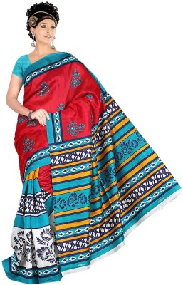 Keya Sarees Floral Print Bhagalpuri Silk Sari