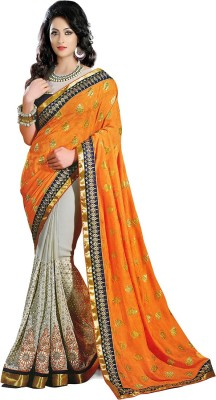 KFHub Embriodered, Self Design Fashion Viscose, Georgette Sari