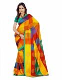 GD Checkered, Printed Fashion Art Silk S...
