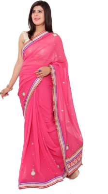 Shri Narayan Fashions Embellished Fashion Handloom Synthetic Chiffon Sari