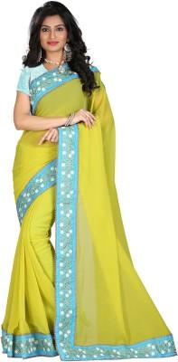 STARLIGHT CLUB Embroidered Fashion Georgette Sari(Green)